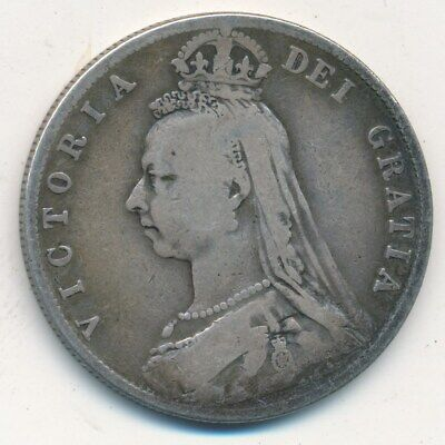 1889 GREAT BRITAIN SILVER HALF CROWN-NICE CIRCULATED BRITISH COIN-SHIPS FREE!