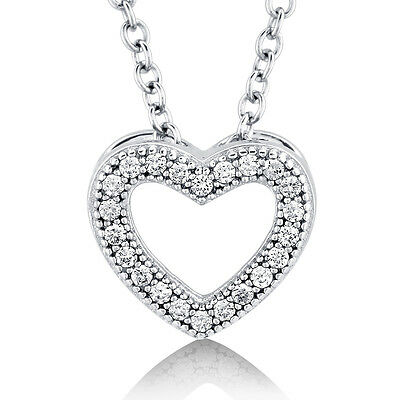 BERRICLE Sterling Silver CZ Open Heart Pendant Necklace