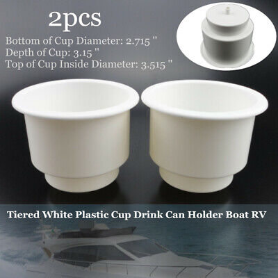 2PCS Excellent Tiered White Plastic Cup Drink Can Holder yacht Boat RV Car Kit