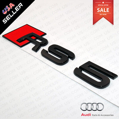 Car 3D Auto ABS Emblem RS5 RS 5 Gloss Black Logo Sticker Rear Tail Badge Trunk