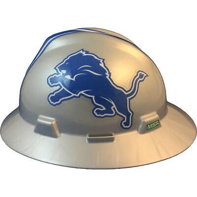 "MSA V-Gard FULL BRIM DETROIT ""LIONS"" NFL Hard Hat Type 3 RATCHET Suspension"