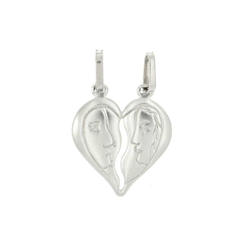 STERLING SILVER MAN AND WOMAN FACE SPLIT HEART CHARM OR PENDANT