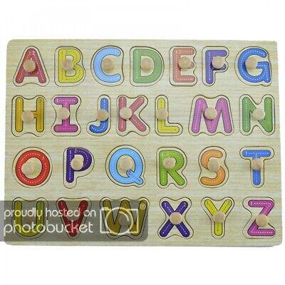 Lern- Steckspiel aus Holz für Kinder mit Buchstaben A-Z Formen Holzpuzzle Puzzle