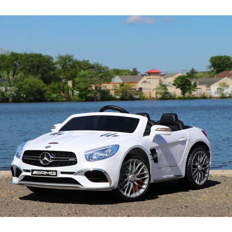 First Drive Mercedes Benz SL Kids Electric Ride On Car w/ Remote Control, White