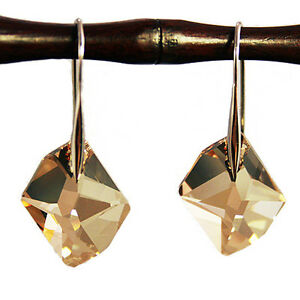 Champagne-Gold-Diamond-Crystal-6680-Sterling-925-Silver-Dangling-Earrings