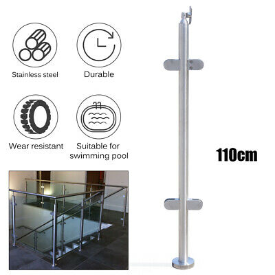 UK 110cm Stainless Steel 316 Balustrade Railing Post Grade Glass Clamps Fencing
