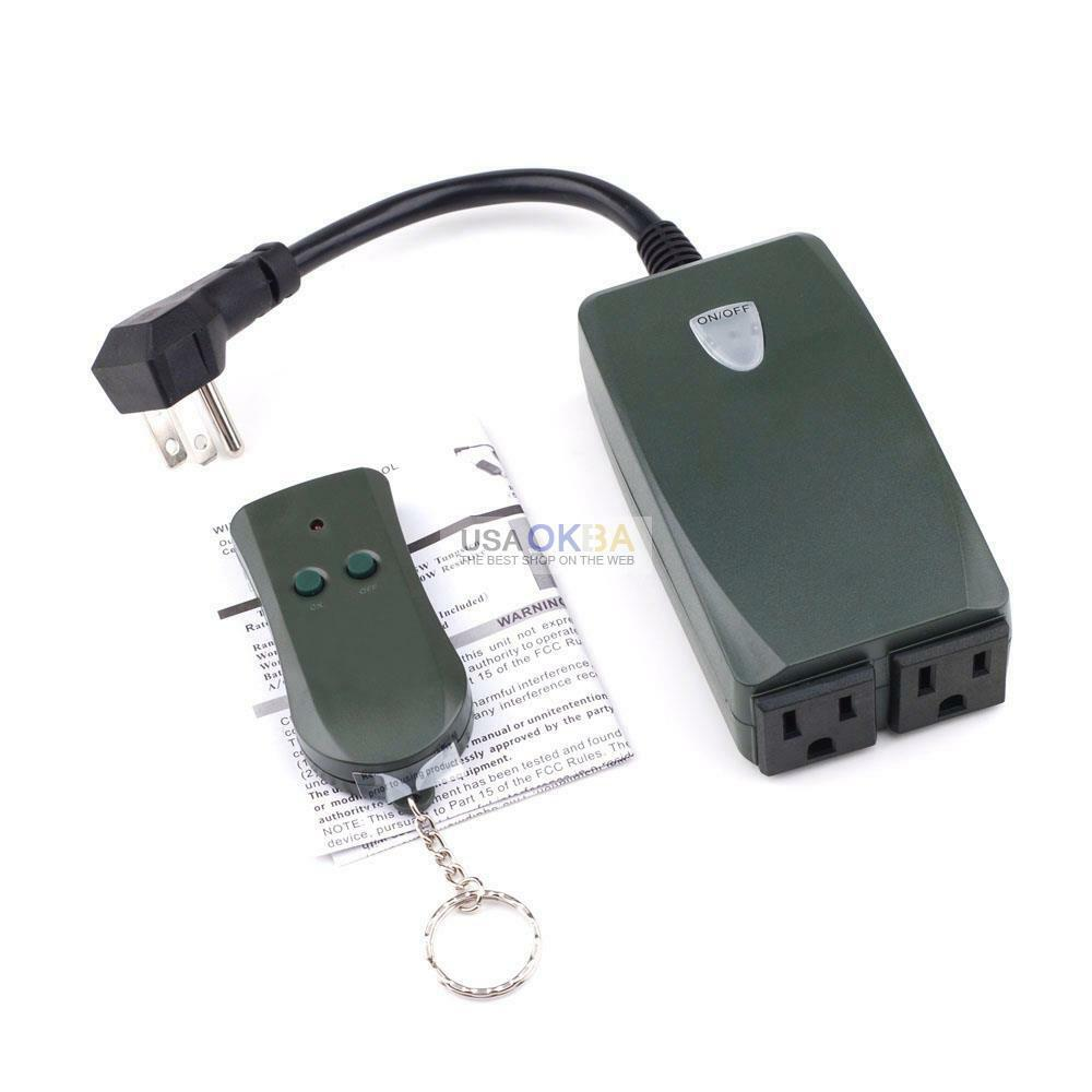 Outdoor Wireless Remote Control Dual Outlet Switch Socket US Plug In Receiver