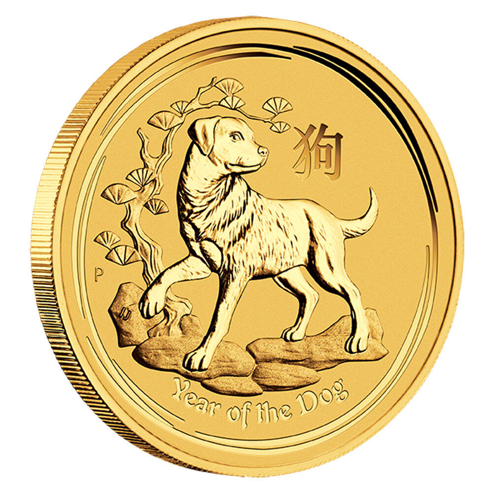 1/10 oz Gold Lunar Hund Australien - Lunar Serie 2018 Jahr des Hundes Goldmünze