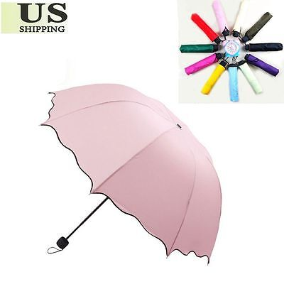 (Windproof Anti UV Clear/Rain Korean Lacework Princess Tri-fold Folding Umbrella)