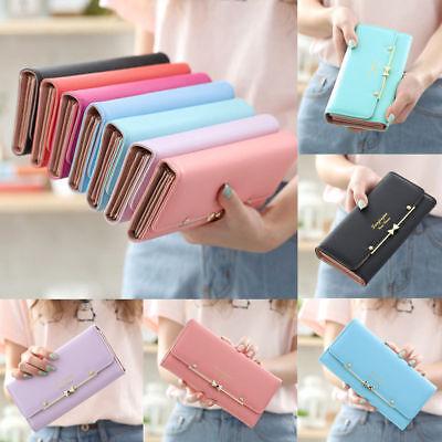 Women's Fashion Cute Long Leather Wallet Buckle Phone Money Clip Bag Handbag US - Leather Womens Money Clip