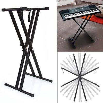 Heavy Duty Double X Frame Folding Adjustable Keyboard Stand Piano With Straps