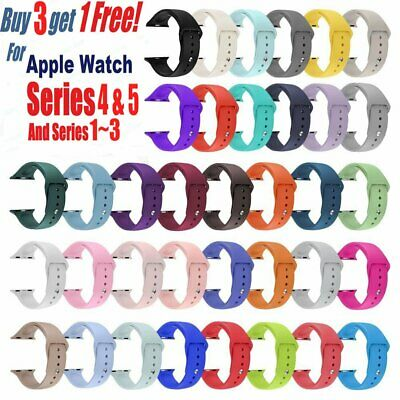 Replacement Silicone Sport Band Strap For Apple Watch Series5 4 3 2 1 40MM 44MM