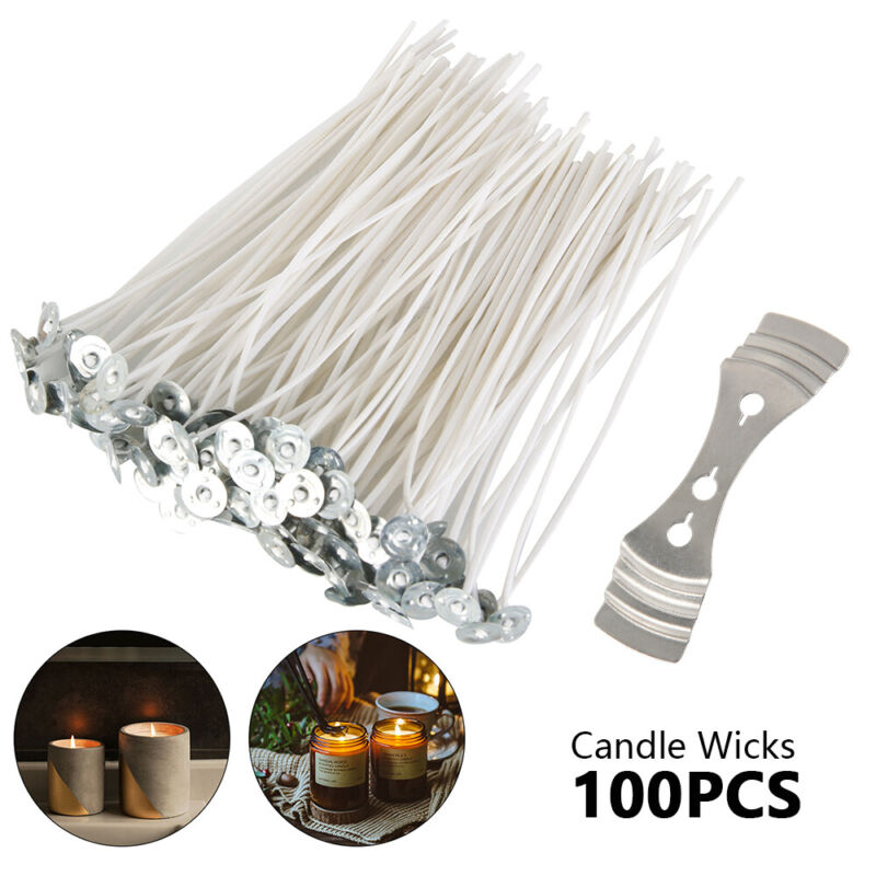 30 Stück Kerze Dochte Baumwollkern mit Sustainers für Kerzenherstellung gewachst
