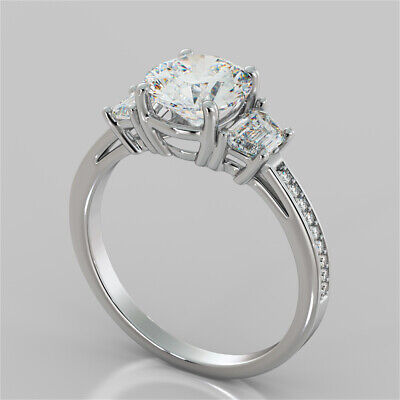 2.78CTW Radiant Cut Three-Stone Engagement Ring in 14K Solid White Gold Size (Radiant Cut Three Stone Diamond Engagement Rings)