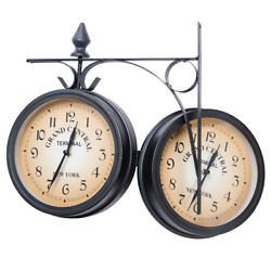 Vintage Double Sided Metal Hanging Wall Clock Home Garden Hallway Art w/ Bracket