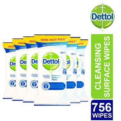 6 x Dettol Anti-Bacterial Surface Cleansing Large Wipes 126 Mega Value Total 756