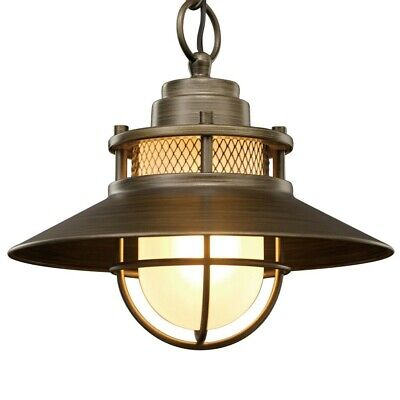 Outdoor Pendant Light Fixture Antique Industrial Hanging Bronze Glass Exterior