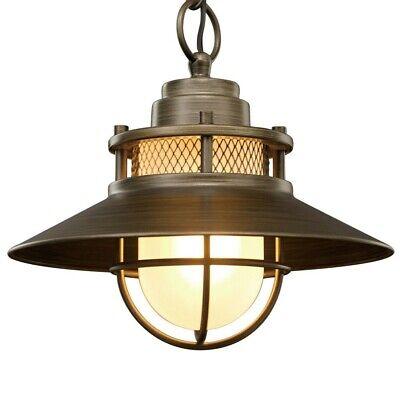 Outdoor Pendant Light Fixture Antique Industrial Hanging Bronze Glass Exterior