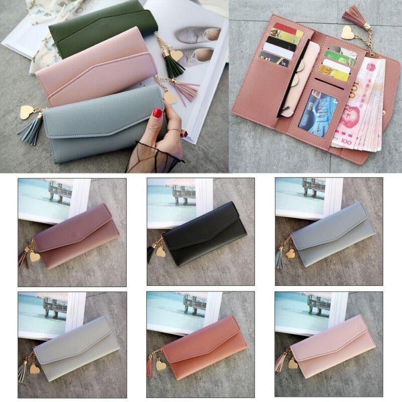 Trifold Clutch Envelope Card Holder Women Wallets Leather Handbag Long Purse