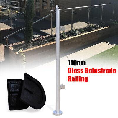 Stainless Steel BalustradeEnd Posts Grade 316 Glass Clamps Fencing Garden 110cm