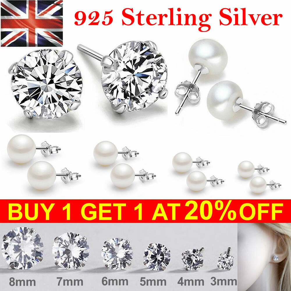 Jewellery - 925 Sterling Silver Solid Stud Pearl Earrings Cubic Zircon Crystal Stud Earrings