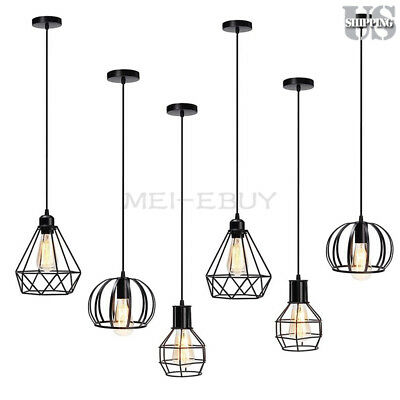 Iron Birdcage - E26 Industrial Iron Bird Cage Hanging Light Cage Ceiling Pendant Lamp Fixture
