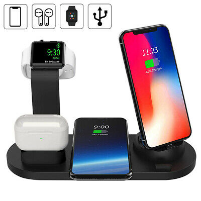 UK 4in1 Fast Qi Wireless Charger Dock Station for Airpod iWatch iPhone 11 XS X 8
