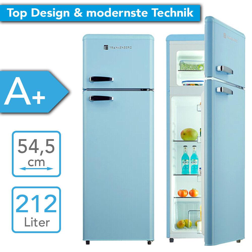 Kühl Gefrierkombination A+ Retro Design Kühlschrank Gefrierfach Kombi hellblau