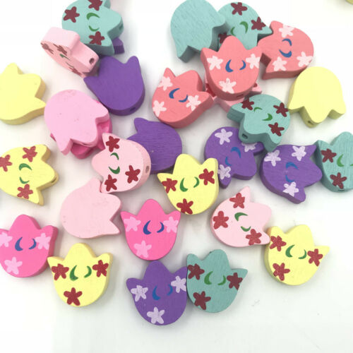 DIY 50PCS Wooden Bead tulip Flowers for Baby Crafts/&Pacifier Clip Necklace
