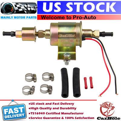 12V Universal Electric Low Fuel Pump Carburetor 5-9PSI Gas Diesel Inline E8016S
