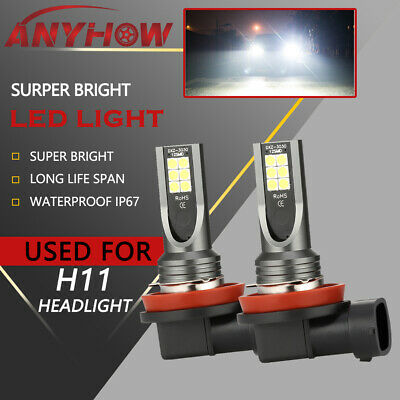 H11/H8/H9 LED High-Low Beam Headlight Kits Fog Light Bulbs 6000K Bright Lamps 2X