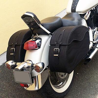 (T) Moto Cuero Negro Alforjas Bolsas Harley Davidson Softail Fat Boy segunda mano  Embacar hacia Spain