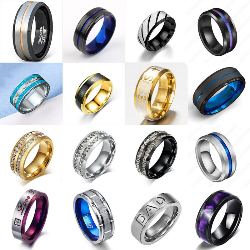 Men Titanium Stainless Steel Ring Fashion Wedding Punk Jewelry Band Rings Gift