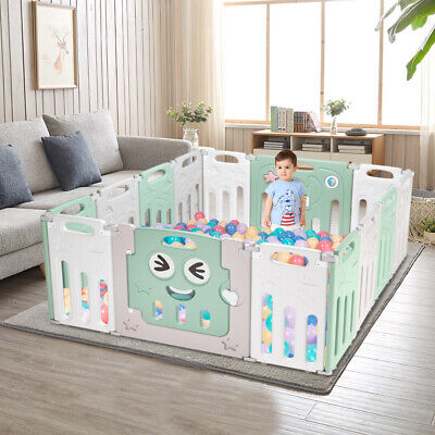 Baby 14 Panel Playpen Activity Safety Play Yard HDPE Indoor Outdoor Pen Fence