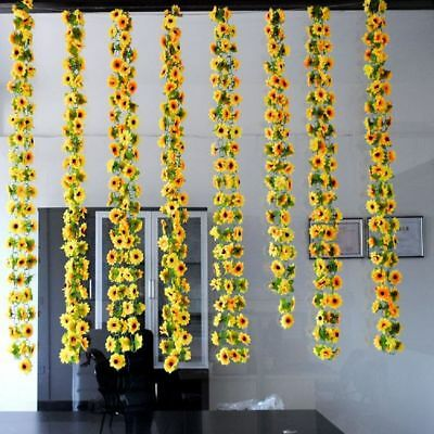 Sunflower Silk Flowers Ivy Leaf Home Party Wedding Fence Decoration Vines