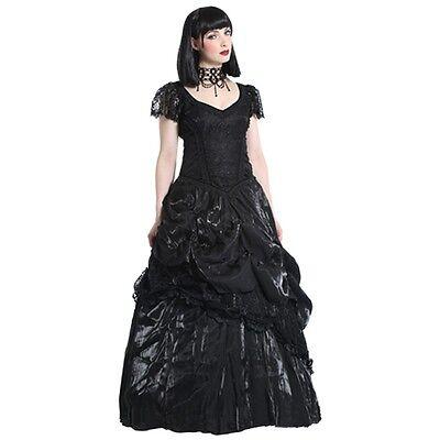 schwarzes GothicKleid mit Rosen, Gothic Ballkleid Hochzeit Viktorianisch Romatik