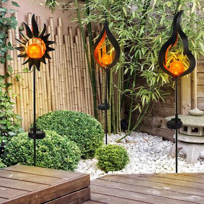 3x LED solar lamp earth spike sun flame drop garden yard decoration plug lamp