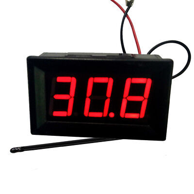 Dc12v Red Led -50110 High Low Temperature Digital Thermometer With Probe New