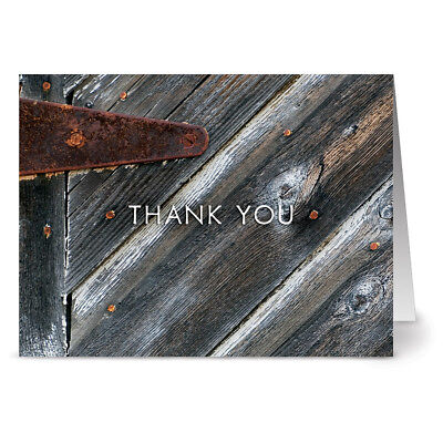 24 Thank You Note Cards - A Rustic Thanks - Off White Ivory Envs