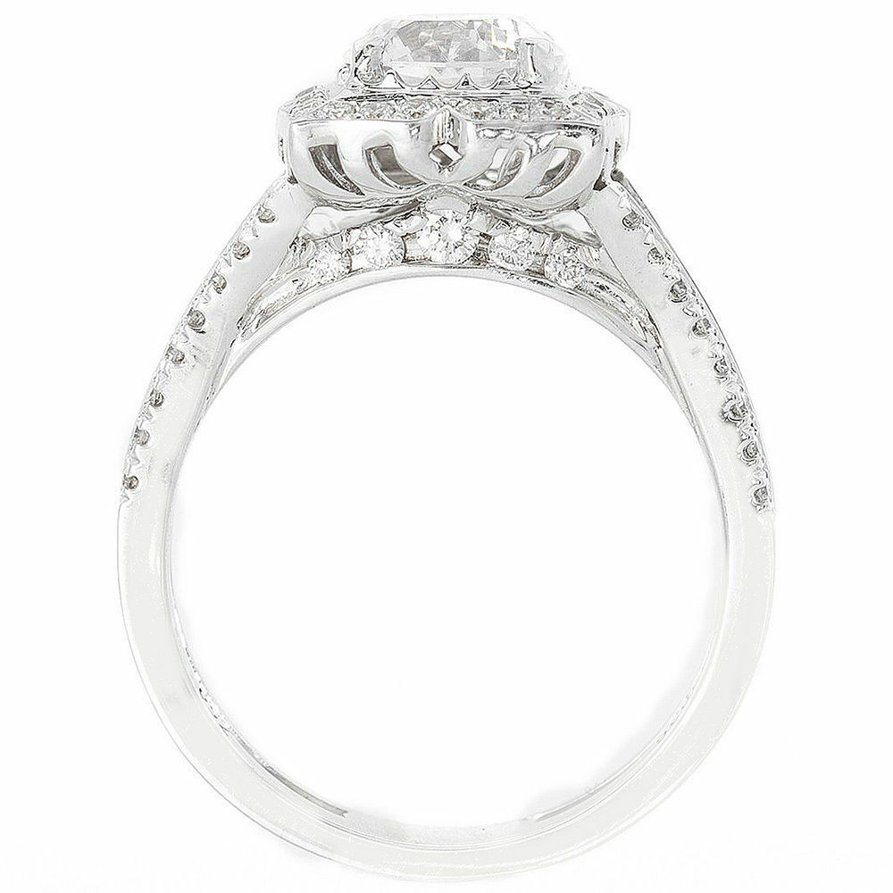 GIA Certified 1.93 CTW Round Cut Diamond Engagement Ring 14k White Gold 3