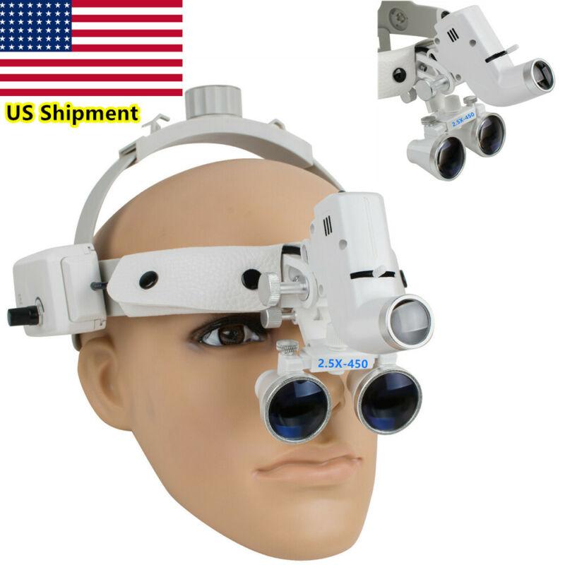 2.5X Dental Loupes Surgical Binocular Glass Magnifier LED Headlight Headband US