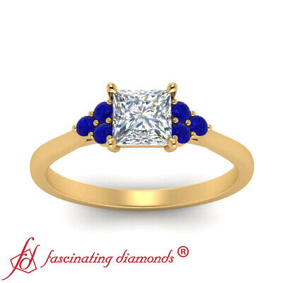 7 Stone Engagement Ring With 0.75 Ctw Princess Cut Diamond And Sapphire Gemstone 1