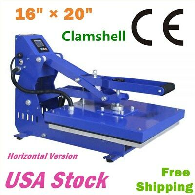 16 X 20 Clamshell T-shirt Heat Press Machine Horizontal Version - Us Stock