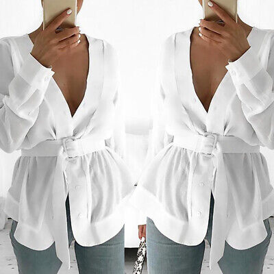 Womens Ladies Long Sleeve Belted Shirts V-Neck Plain Casual T-shirts Blouse Tops