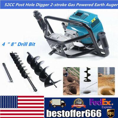 52cc 2-stroke Garden Auger Earth Gas Powered Post Hole Digger4 8 Drill Bit
