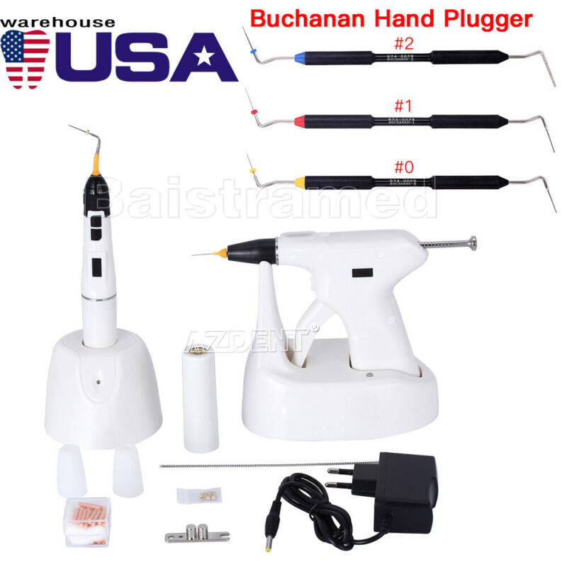 Dental Endodontic Gun Heated Pen Percha Gutta tips + Buchanan Hand Plugger Tips