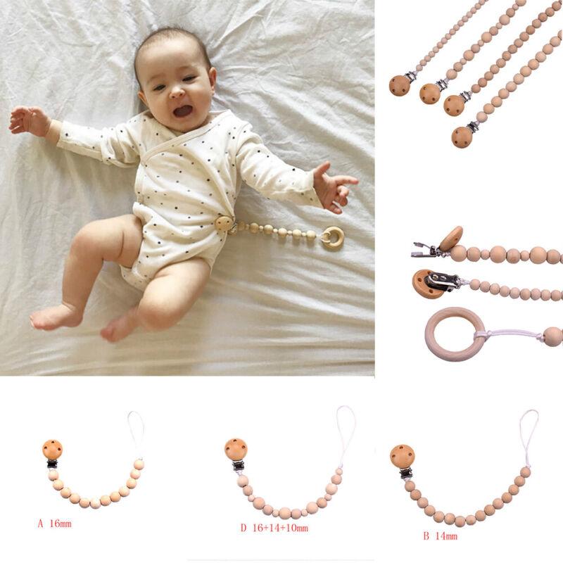Wood Beaded Pacifier Clip Baby Kids Dummy Chain Nipple Holde