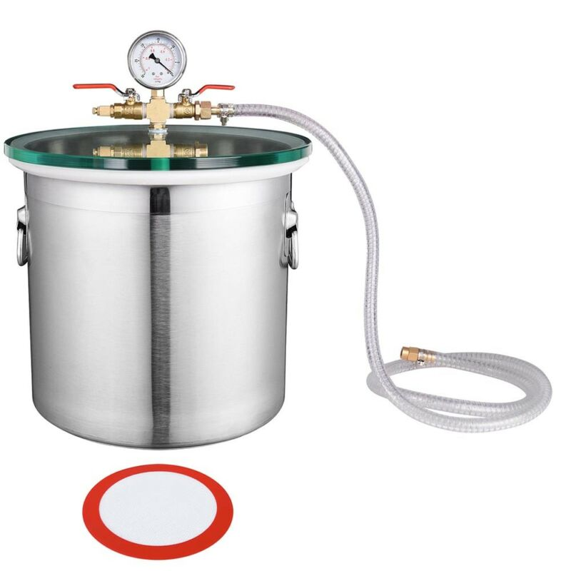 5 Gallon Stainless Steel Vacuum Chamber Glass Lid Set Degassing Silicone Epoxies