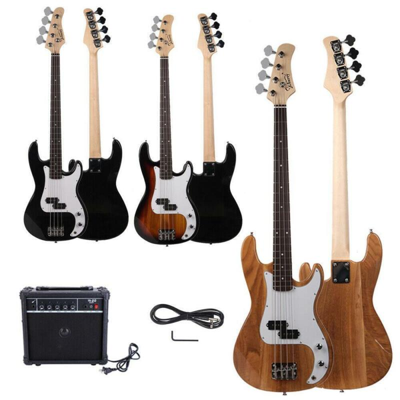 New Black Sunset Natural Blue Basswood 4 Strings Electric Guitar Bass W/ 20W AMP