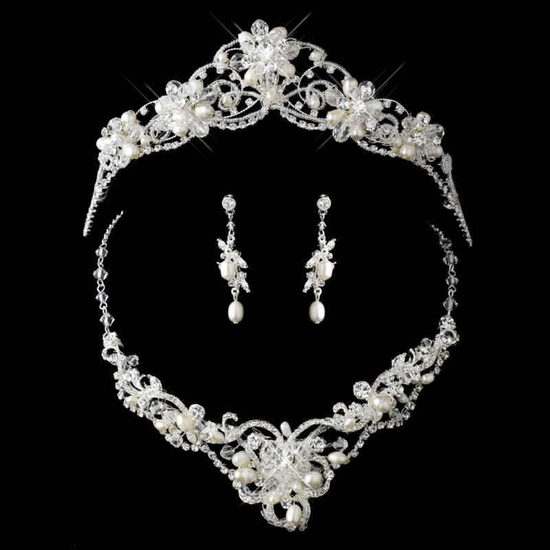 Gold or Silver Pearl Rhinestone Crystal Bridal Wedding Necklace & Tiara Set